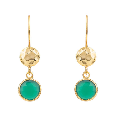 Circle & Hammer Drop Earrings Gold Green Onyx