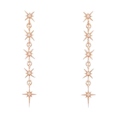 Star Burst 5 Drops Earrings Rosegold
