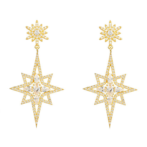 Northern Star Burst Drop Earring Gold