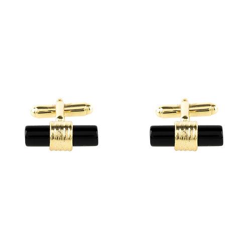 Cylindrical Cufflink Gold Black Onyx