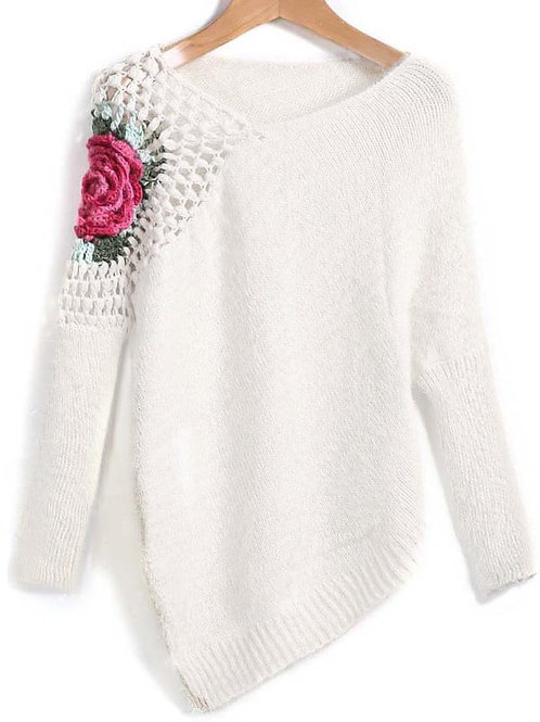 AVICII SWISS Apricot Round Neck Floral Crochet Loose Sweater