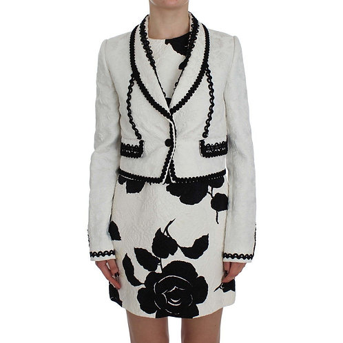 Dolce & Gabbana White Black Brocade Torero Blazer Jacket