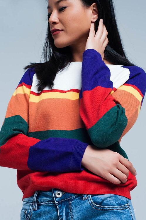 Red Multi Colored Striped Sweater Q2-AVICII SWISS Collaboration