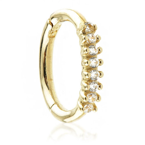 9ct Gold Hinge Rook Ring With CZ Gems