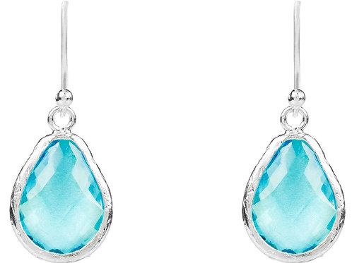 Petite Drop Earring Blue Topaz Hydro Silver