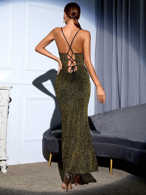AVICII SWISS Lace Up Backless Glitter Cami Dress