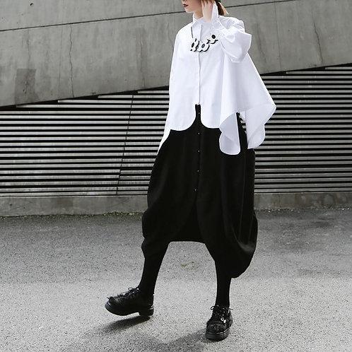Sonoya Lapel Long Sleeve Irregular Hem Shirt