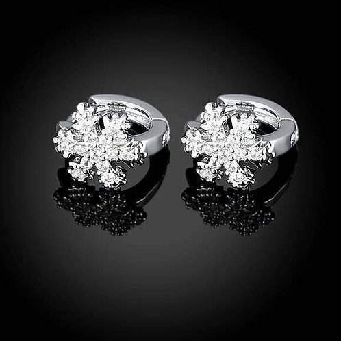 18k White Gold Plated Snow Flake Swarovski Huggie Earrings