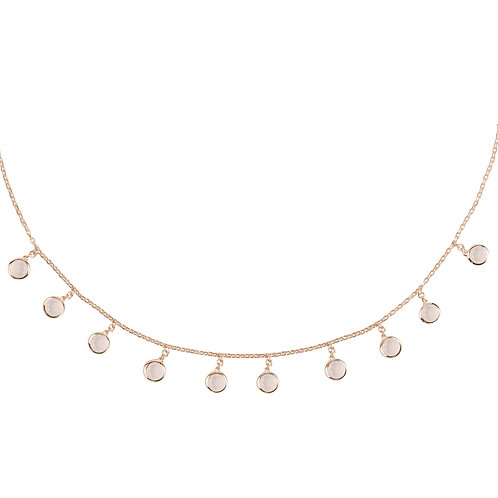 Florence Round Gemstone Necklace Rosegold Rose Quartz