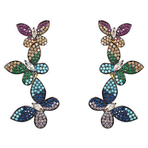 Butterfly Rainbow Drop Earrings Gold