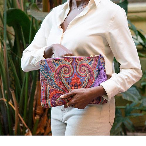 Designer Zipped Party Clutch, Ultra Slim Modern Clutch with Tassel, Boho Women