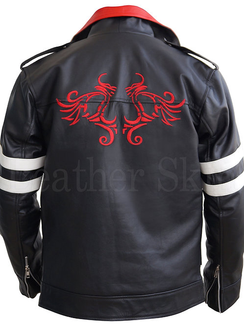 Men Black Embroided Dragon Jacket
