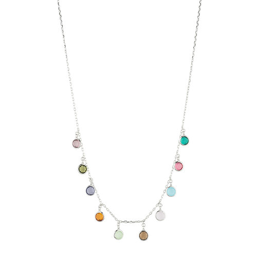 Florence Multi Coloured Gemstone Necklace Silver
