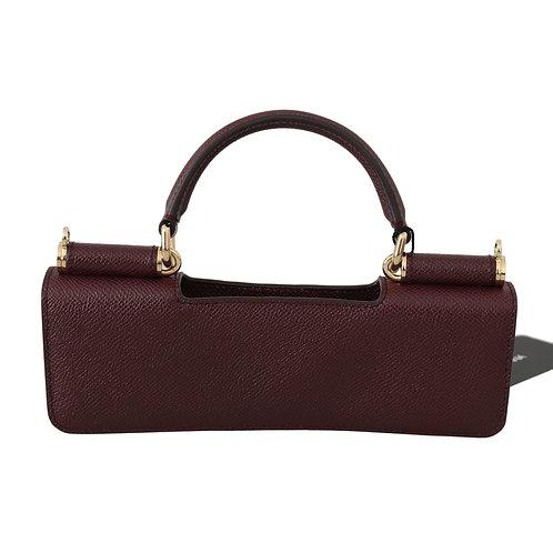 Dolce & Gabbana Maroon Leather Push Button Accessory  Micro Bag