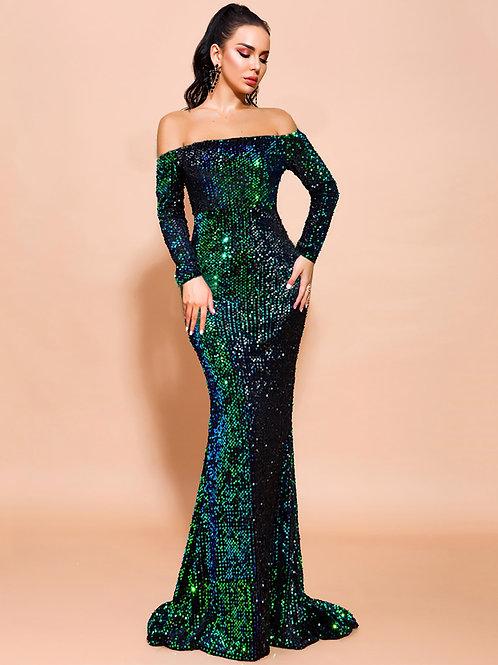 AVICII SWISS Off Shoulder Sequin Fishtail Prom Dress