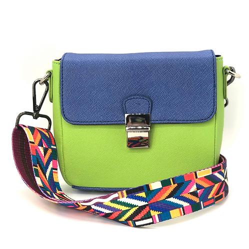 Tiny Leather Handbag -Blue/Lime (Option 2)