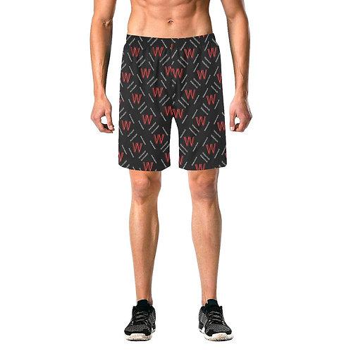 Men's Black Wakerlook Print Elastic Fashion Shorts