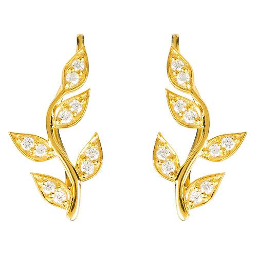 Diamond Leaf Ear Climber Gold