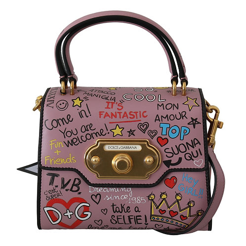 Dolce & Gabbana Pink Leather DG Crown Crossbody WELCOME Purse