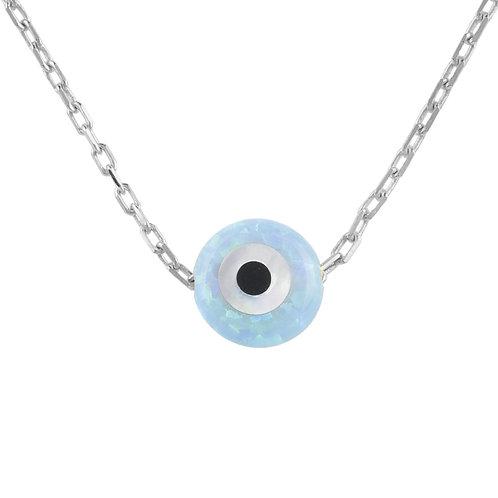 Evil Eye Mini Opalite Necklace Sterling Silver