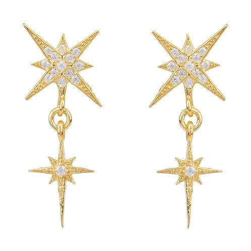 Star Burst Double Drops Earrings Gold