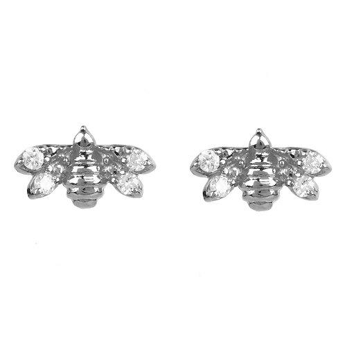 Diamond Mini Bee Stud Earrings Silver