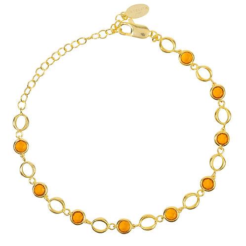 Milan Link Gemstone Bracelet Gold Citrine