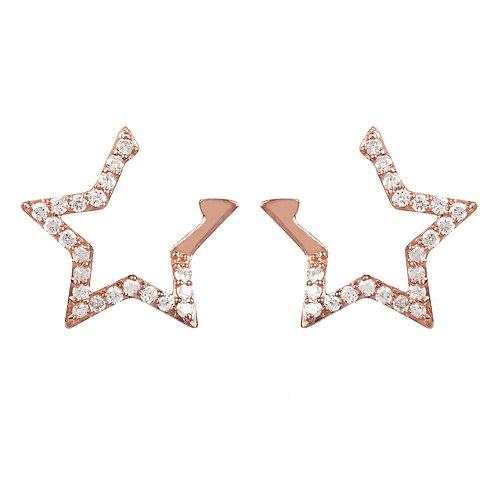 Diamond Open Star Earrings Rosegold