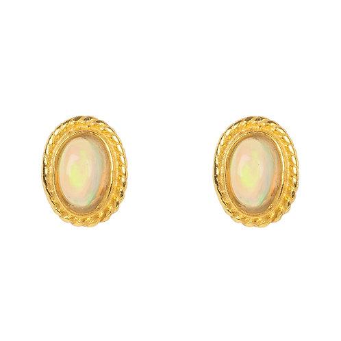 Birthstone Gold Gemstone Stud Earring  October Opal