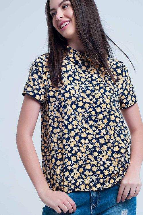 Shirt With Yellow Flowers Print Q2-AVICII SWISS Collaboration