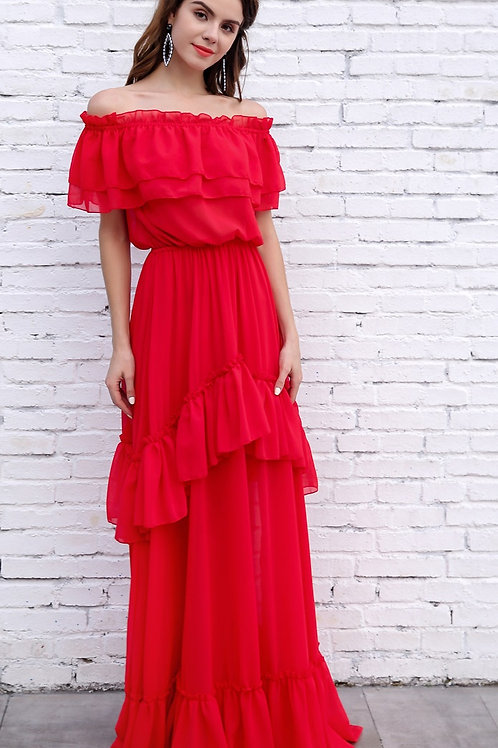 Red Maxi Dress AVICII SWISS Evelyn Belluci Collaboration