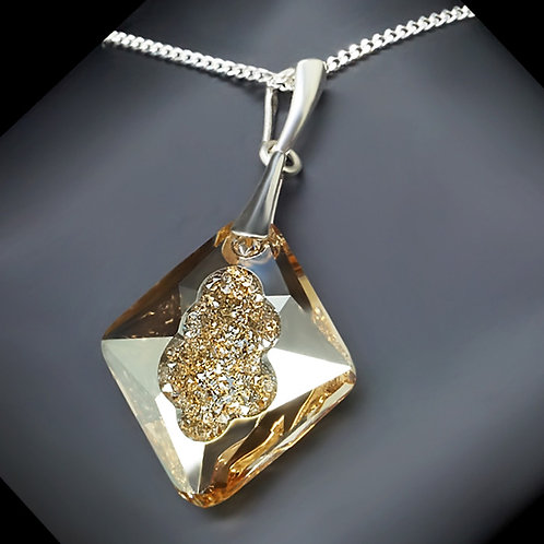 """925 Sterling Silver """"Growing Crystal (Golden Shadow)"""" pendant with Crystals From"""