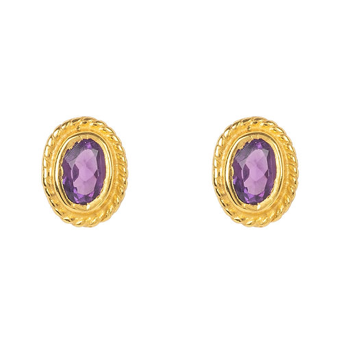 Birthstone Gold Gemstone Stud Earring  February Amethyst