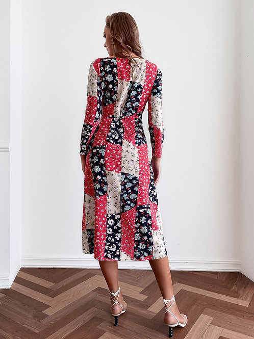 AVICII SWISS Floral Patchwork Knot Side Surplice Dress