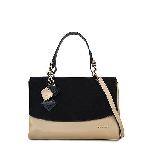 Simonetta Leather Handbag- Midnight Black / Tan
