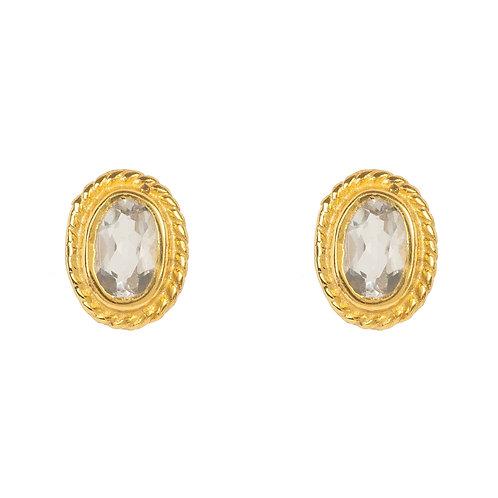 Birthstone Gold Gemstone Stud Earring  April Quartz