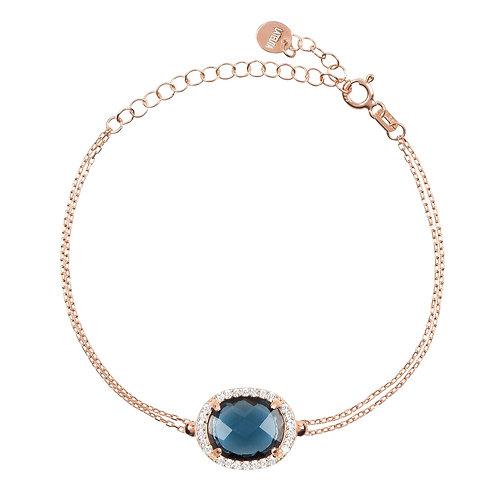 Beatrice Oval Gemstone Bracelet Rose Gold Sapphire Hydro