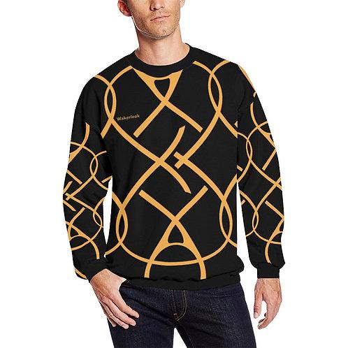 Wakerlook Golden Color Men's All Over Print Sweatshirt