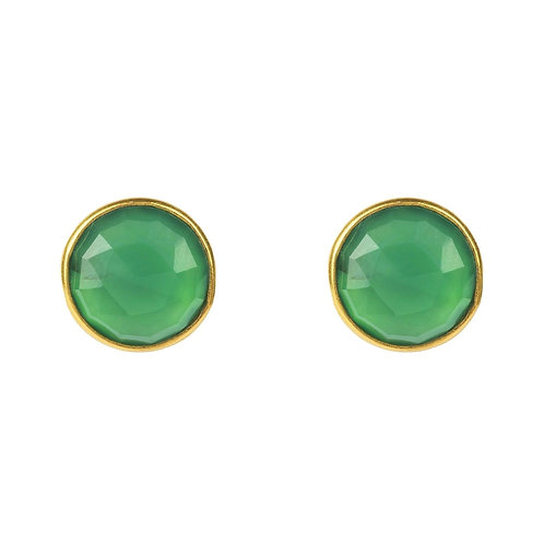 Medium Circle Stud Earrings Gold Green Onyx