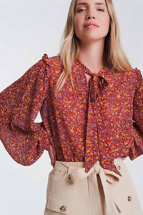 Chiffon Frill Detail Smock Blouse in Floral Print Q2- AVICII SWISS COLLAB