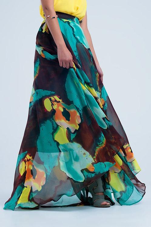 Brown Maxi Skirt With Print Q2- AVICII SWISS COLLABORATION