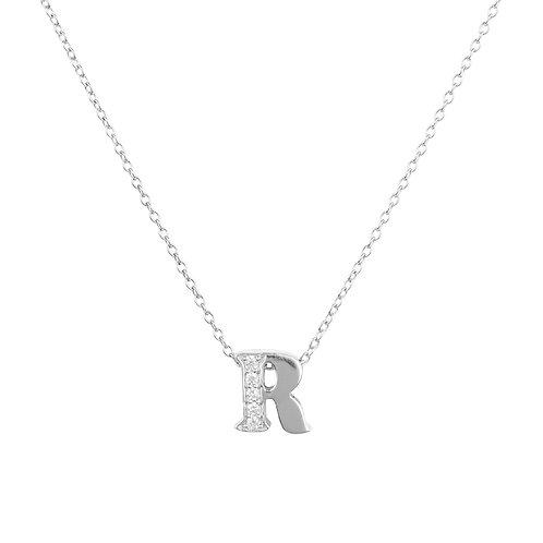 Diamond Initial Letter Pendant Necklace Silver R