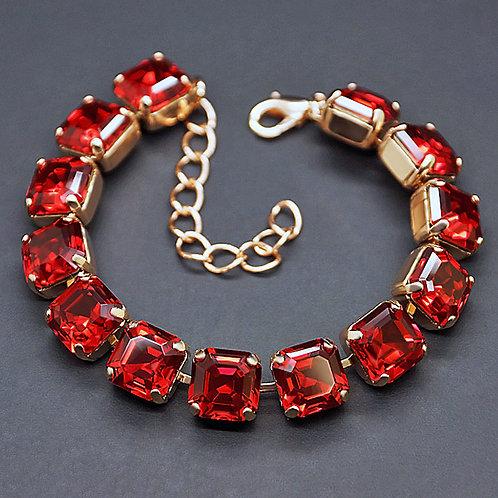 "Bracelet ""Imperial (Scarlet)"" with Swarovski™ crystals"