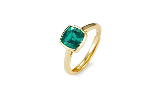 Gold & Emerald Ring, square emerald engagement ring, yellow gold, sterling silv