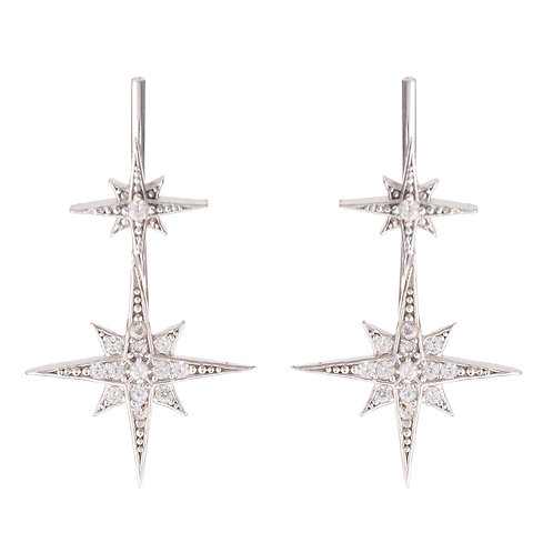 Star Bursts Ear Climber Pair Silver