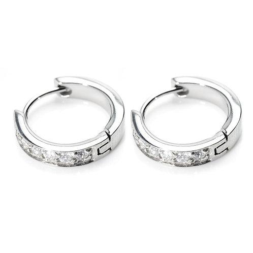 Steel Gem Hoop Cartilage Hinge Earrings
