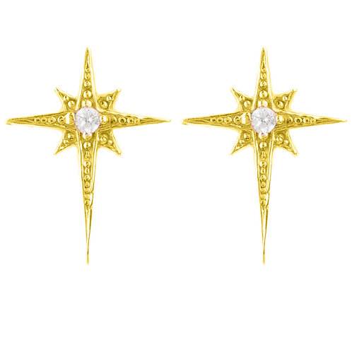 Mini Star Burst Small Stud Earrings Gold