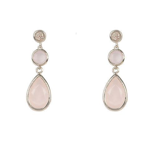 Tuscany Gemstone Drop Earring Silver Rose Quartz
