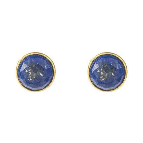 Medium Circle Stud Earrings Gold Lapis Lazuli