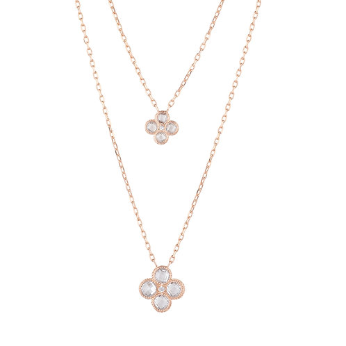Flower Clover Double Layered Pendant Necklace Rosegold